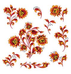floral pattern design element set ornamental vector image