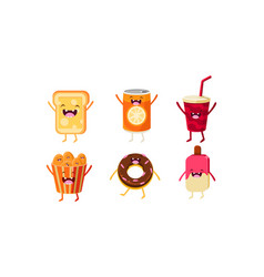 funny fast food characters set cheese sandwich vector image