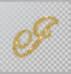 Gold glitter powder letter i in hand painted style vector