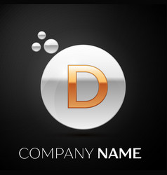 Gold letter d logo silver dots splash and bubble vector
