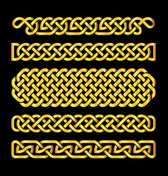 Golden celtic knots borders set vector