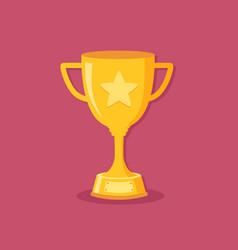 Golden trophy cup flat design vector
