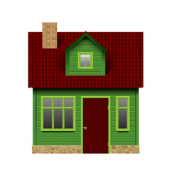 green realistic house in front view isolated on vector image
