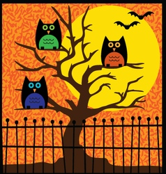 Halloween owls in tree vector