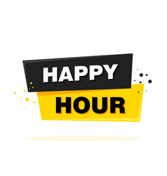 happy hour label sign banner vector image