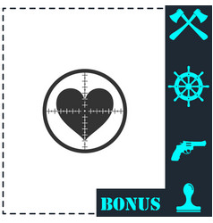 hearth with crosshair icon flat vector image