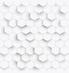 Hexagon geometric white texture 3d paper vector