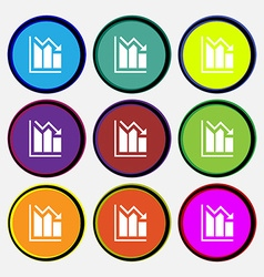 histogram icon sign Nine multi colored round vector image