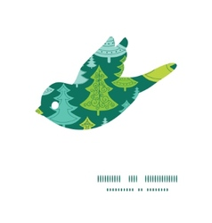 holiday christmas trees bird silhouette pattern vector image