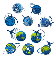 Icons plane and world globe vector