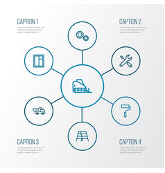 Industry outline icons set collection of tipper vector