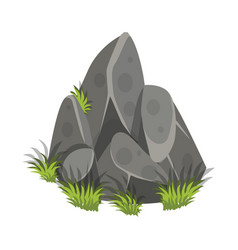 Isometric cartoon rock slab with grass - tileset vector
