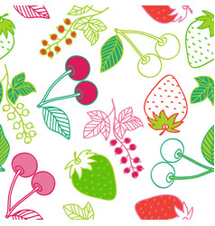 juicy berries seamless pattern vector image