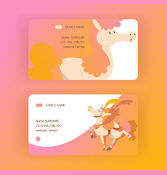 Kids horse business-card cartoon pony vector