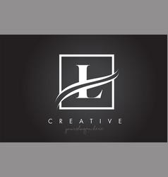 l letter logo design with square swoosh border vector image