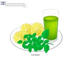 Lemonana or in Israeli Frozen Lemonade with Mint vector image vector image