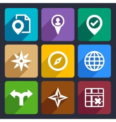 Map GPS and Navigation Flat Icons Set 46 vector image