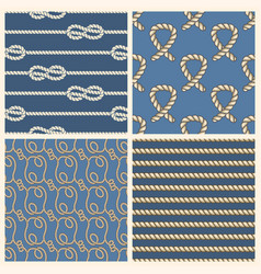Marine ropes seamless patterns set vector