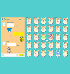 Messenger dog stickers emoticons set web page vector