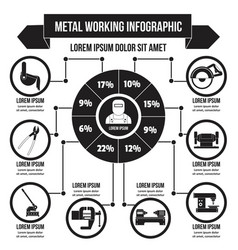 Metal working infographic simple style vector