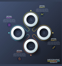 Modern infographic design template with 4 white vector