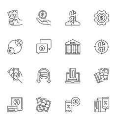 money minimal linear icons set cash vector image