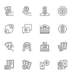 money minimal linear icons set cash vector image