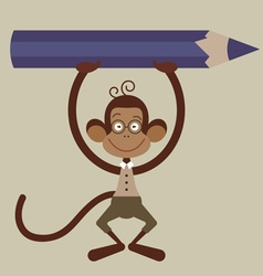 monkey with pensil vector image