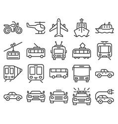 Monochromatic line icons set some transport vector