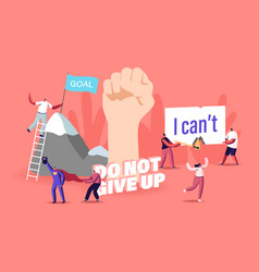Motivation and aspiration concept tiny characters vector