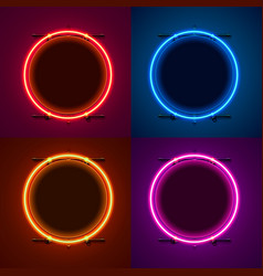 neon frame sign in shape a circle set vector image
