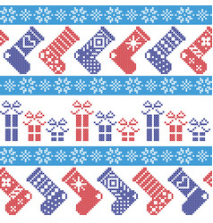 Nordic Christmas pattern with stockings stars sn vector image