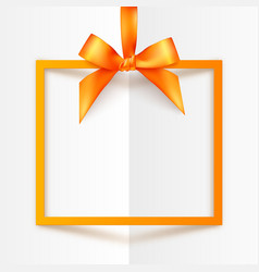 Orange gift box frame with silky bow and ribbon on vector