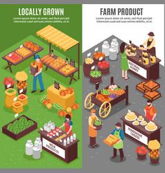 Organic market vertical banners vector