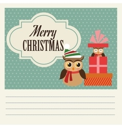 Owl cartoon of Christmas season design vector image