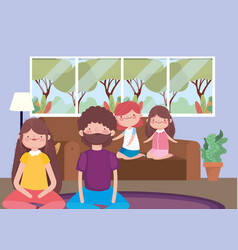 Parents and girls in living room happy vector