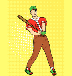 Pop art background a man a professional baseball vector
