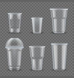realistic plastic cups mockup set vector image
