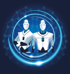 robot with artificial intelligence vector image