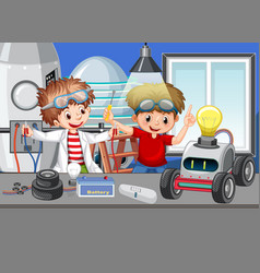 Scene with children repairing toy car together vector