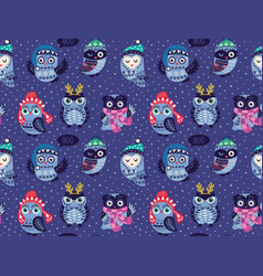 Seamless pattern with cartoon owls in winter hats vector