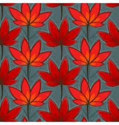 Seamless pattern with red leaves vector image