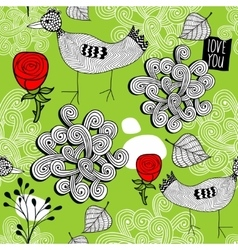 Seamless pattern with red roses and doodle birds vector image