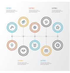 Season outline icons set collection of melon vector