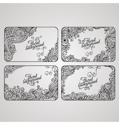 set four floral decorative frames vector image