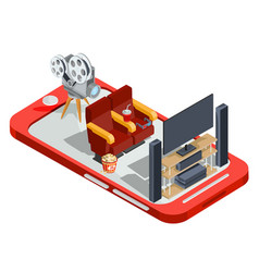 set of isometric watching a vector image