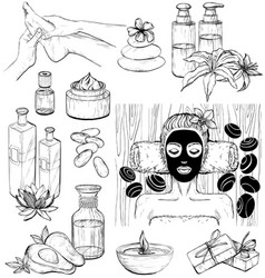 set of spa icons sketch vector image