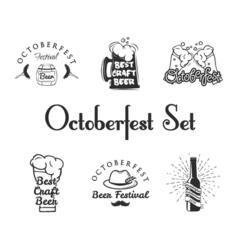 set oktoberfest labels - beer barrel beer mug vector image