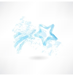 Shooting star grunge icon vector