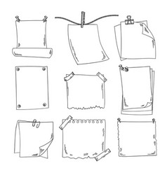 Sketch papers and different notepapers set vector